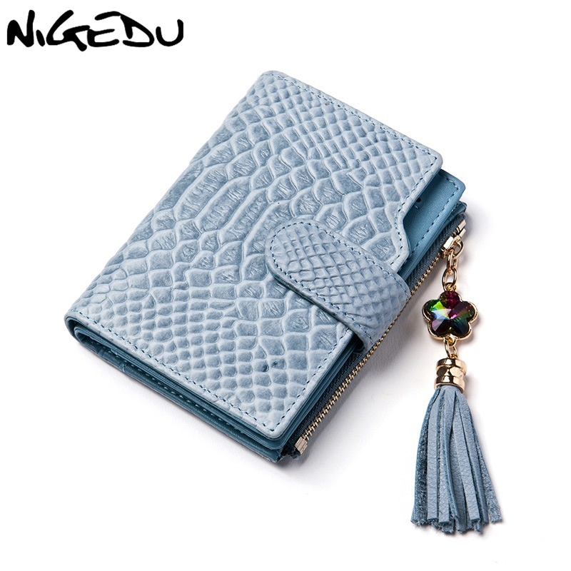 NIGEDU Brand tassel Women's Purse Genuine Leather Wallet Women Fashion Ladies Money Wallets Short clutch Purse 18 Card Holder simline fashion genuine leather real cowhide women lady short slim wallet wallets purse card holder zipper coin pocket ladies