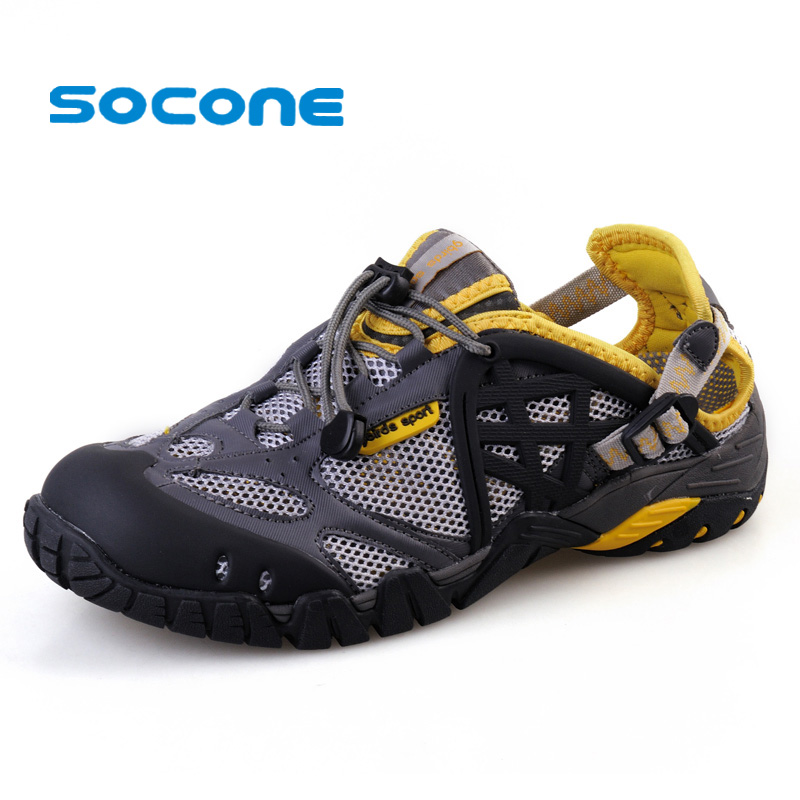 Socone плюс Размеры 7-13 Для мужчин Новый Аква водонепроницаемая обувь пляжные сандалии Для женщин Легкий спортивные кроссовки дышащие кожаные ...