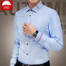 Men Shirts Oxford Woven Solid Color Shirt Long Sleeve Britis