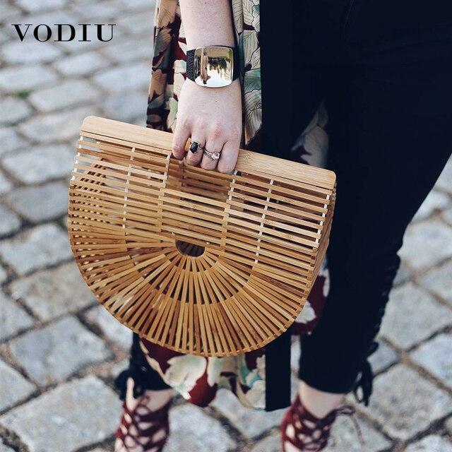 Sac en bambou sacs à main en bois et sacs à main pochette pour femmes évider sacs de plage tissés pour les femmes d'été de luxe Designer sac à main en bambou