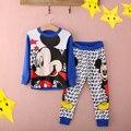 Розничные Дети хлопка Пижамы комплектов одежды Мальчиков minie Девушки Минни мультфильм ребенка пижамы устанавливает новые