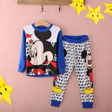 Retail Kids cotton Pajamas clothing sets Boys Mickey Girls Minnie cartoon baby sleepwear sets new
