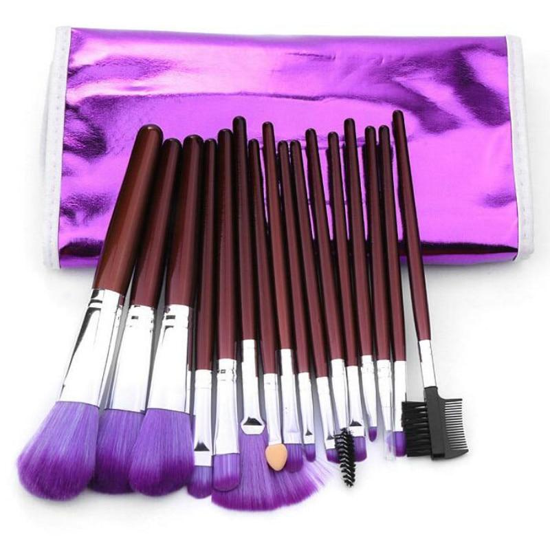 16pcs Purple Makeup Brushes Sets Nylon Hair Wood handle Makeup Tool kits Foundation Powder deep purple deep purple stormbringer 35th anniversary edition cd dvd