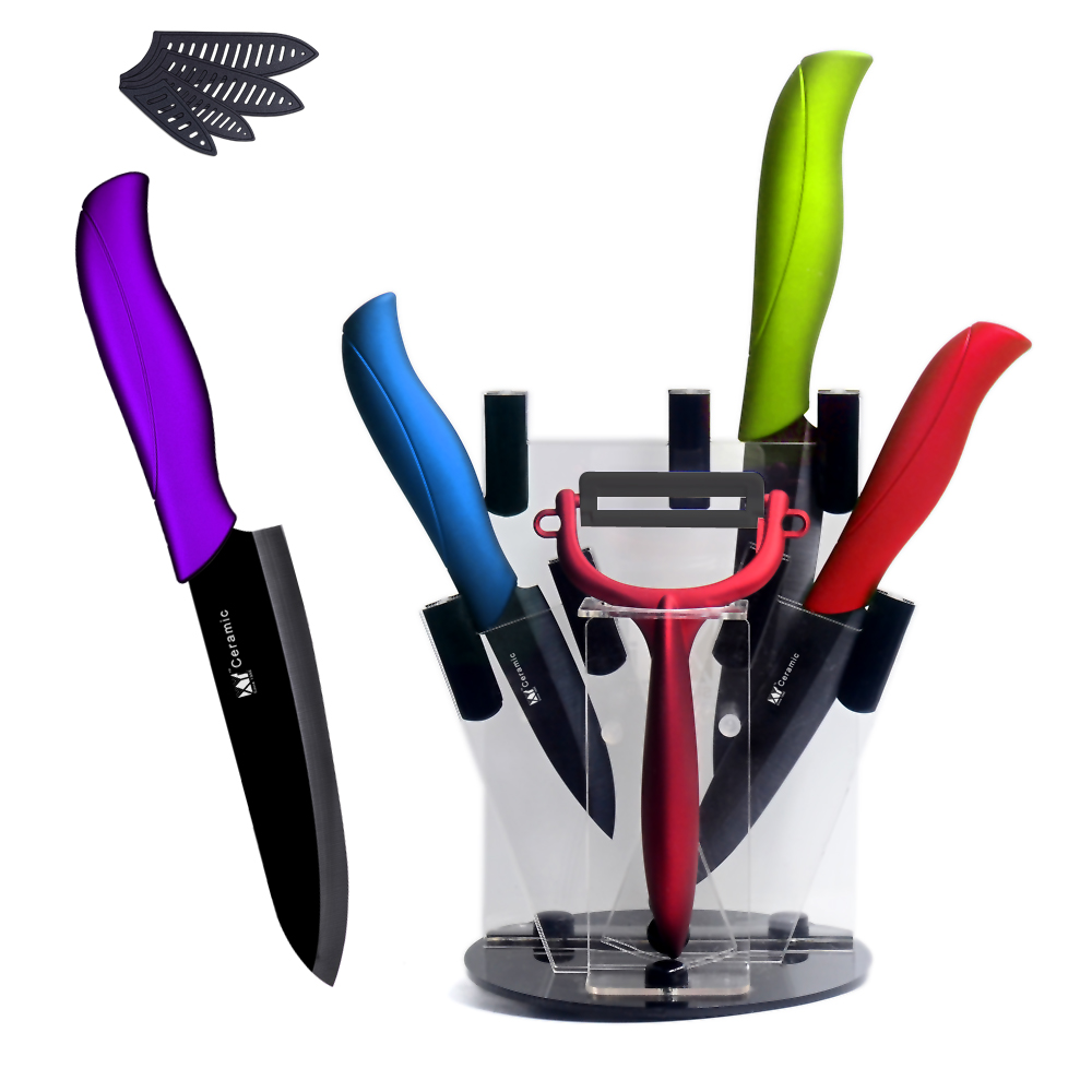 XYj Brand Ceramic Knife Set 3 4 5 6 Paring Utility Slicing Chef Knife Peeler With