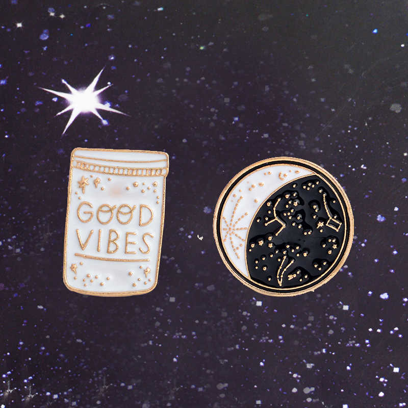 Fashion Perhiasan Aksesoris Damai Enamel Kerah Pin Constellation Pin Moon Phase Lencana Getaran Yang Baik Hanya Perhiasan