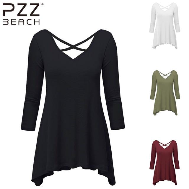 Outono de Algodão Mulheres T camisa 3/4 de Manga Comprida Plus Size feminina T-shirt Blusas soltas Sólidos 2016 Top Camiseta Femme Preto Branco Vermelho