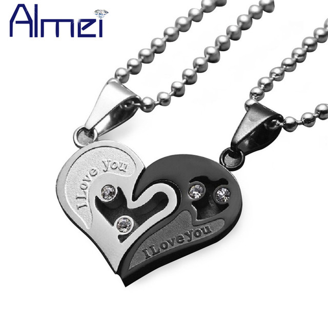 Almei Gothic Chocker Statement Necklace Mens Stainless Steel Free Chains Heart Couple Pendant Gold Color Men Women Jewelry SN102