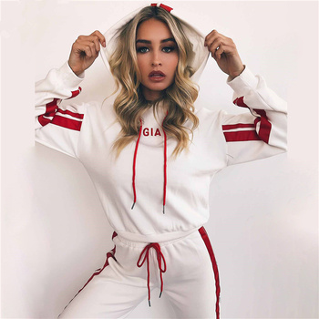 Women's suits 2018 Autumn 2 Piece Set Women Tracksuit Sportswear Casual White Red Sweat Pants Hooded Cropped Sweatshirt Hoodie