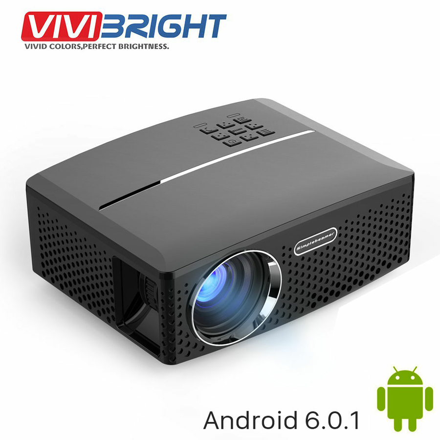 VIVIBRIGHT LED Projector GP80 / UP. 1800 Lumens. (Optional Android 6.0.1, WIFI, Bluetooth Simple Beamer) Support Full HD, 1080P vivibright gp90 lcd projector 3200 lumens android 4 44 os
