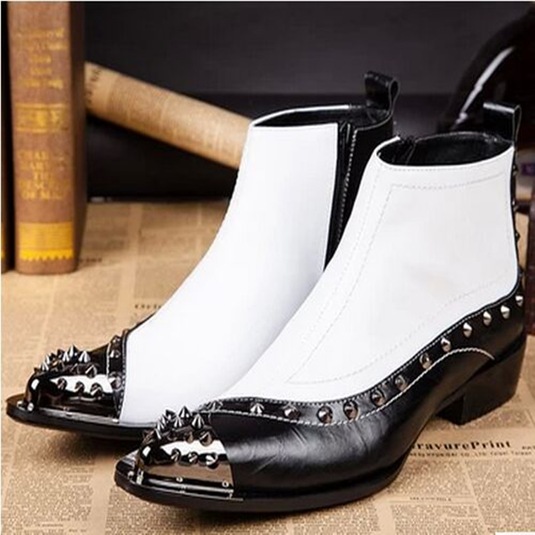 2018 Spring Rivets Steel Toe Mens Boots Oxfords Mixed Colors White Black Ankle Boots Man Italian Mens Leather Shoes Botines2018 Spring Rivets Steel Toe Mens Boots Oxfords Mixed Colors White Black Ankle Boots Man Italian Mens Leather Shoes Botines