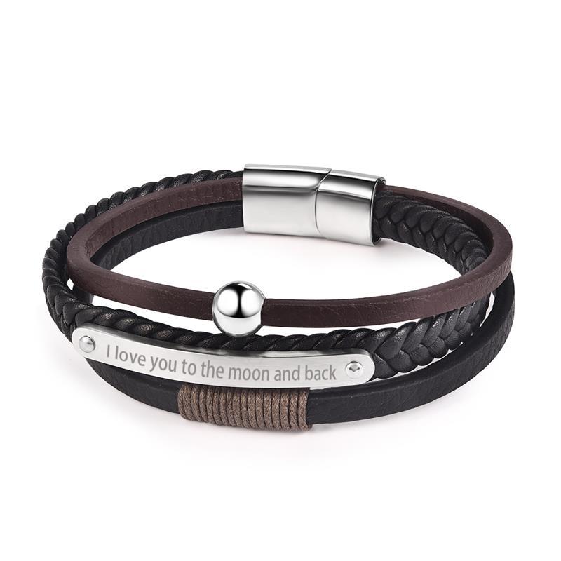 Jiayiqi hommes personnalisé gravure Punk Bracelet en cuir en acier inoxydable aimant fermoir Bracelet mâle bijoux mode meilleur cadeau