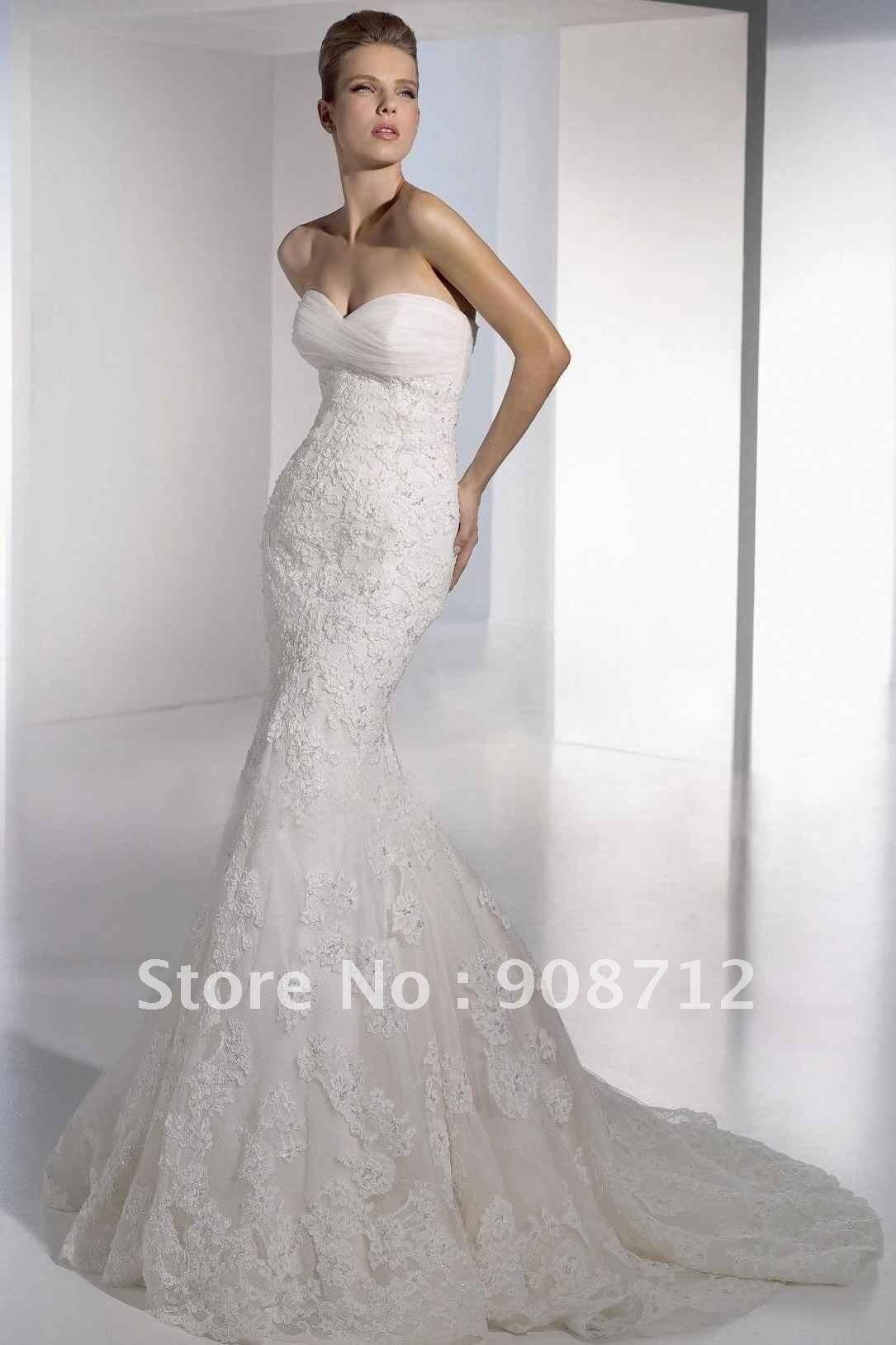 Strapless Mermaid Lace Wedding Dress