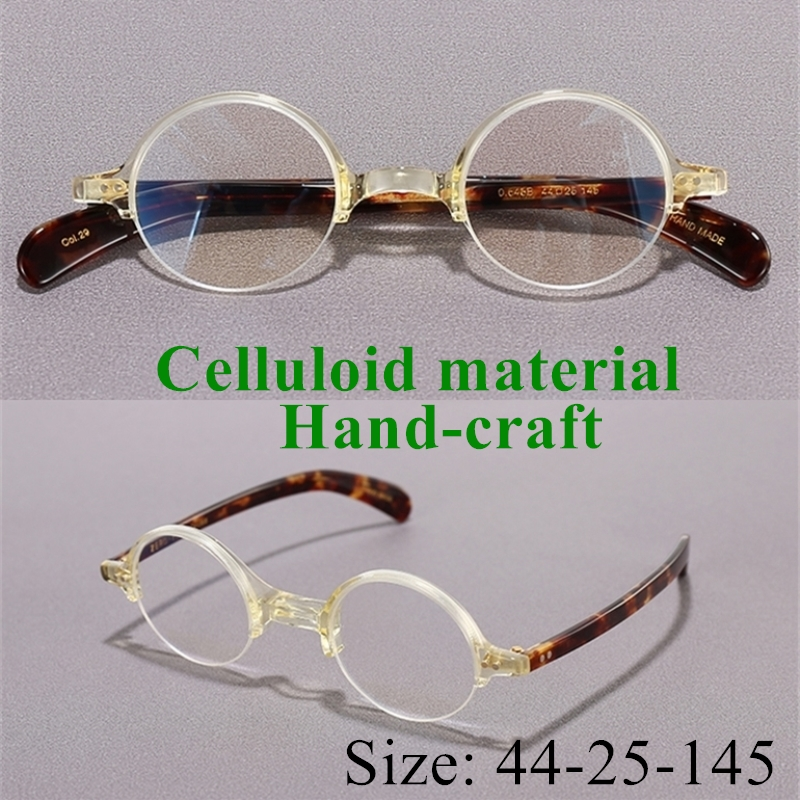 Vintage Quality Celluloid eyeglasses frame Down half rimless eyewear women men original quality design handcraft limited