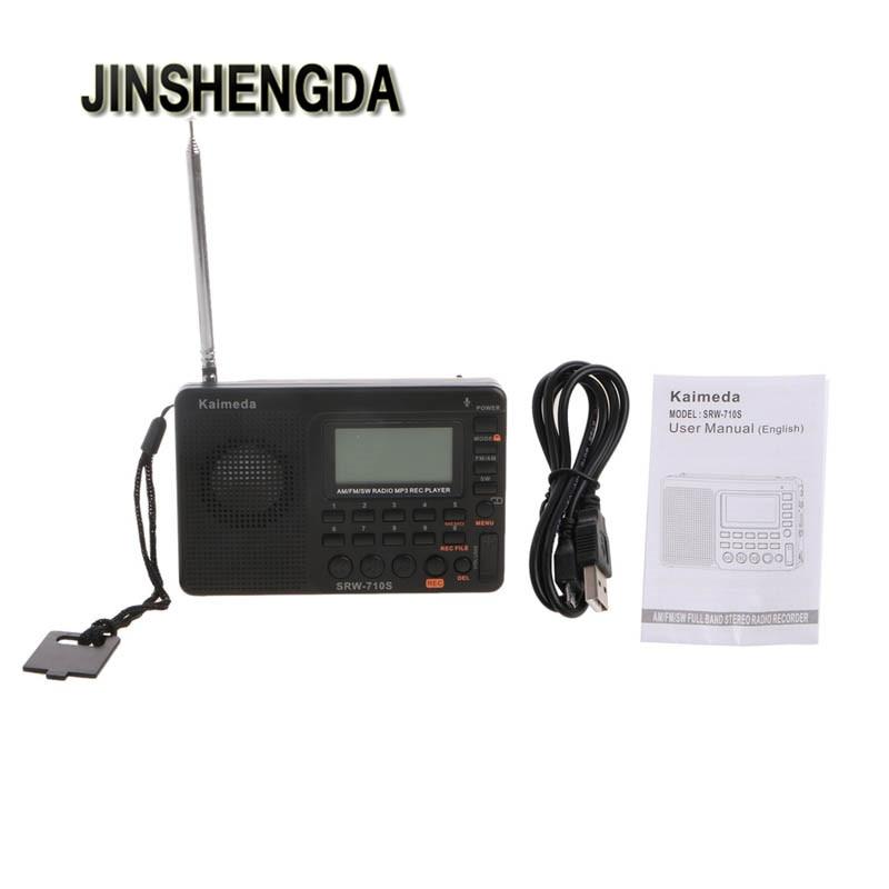 JINSHENGDA Radio Portable Numérique Tuning LCD Récepteur TF MP3 REC Lecteur FM AM SW Pleine Bande Radio