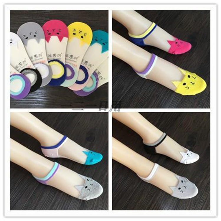 Small Cat Cartoon Boat Ankle Low Socks Woman Crystal Socks Full Cotton Invisible Glass Silk  2pcs=1pair Ws121