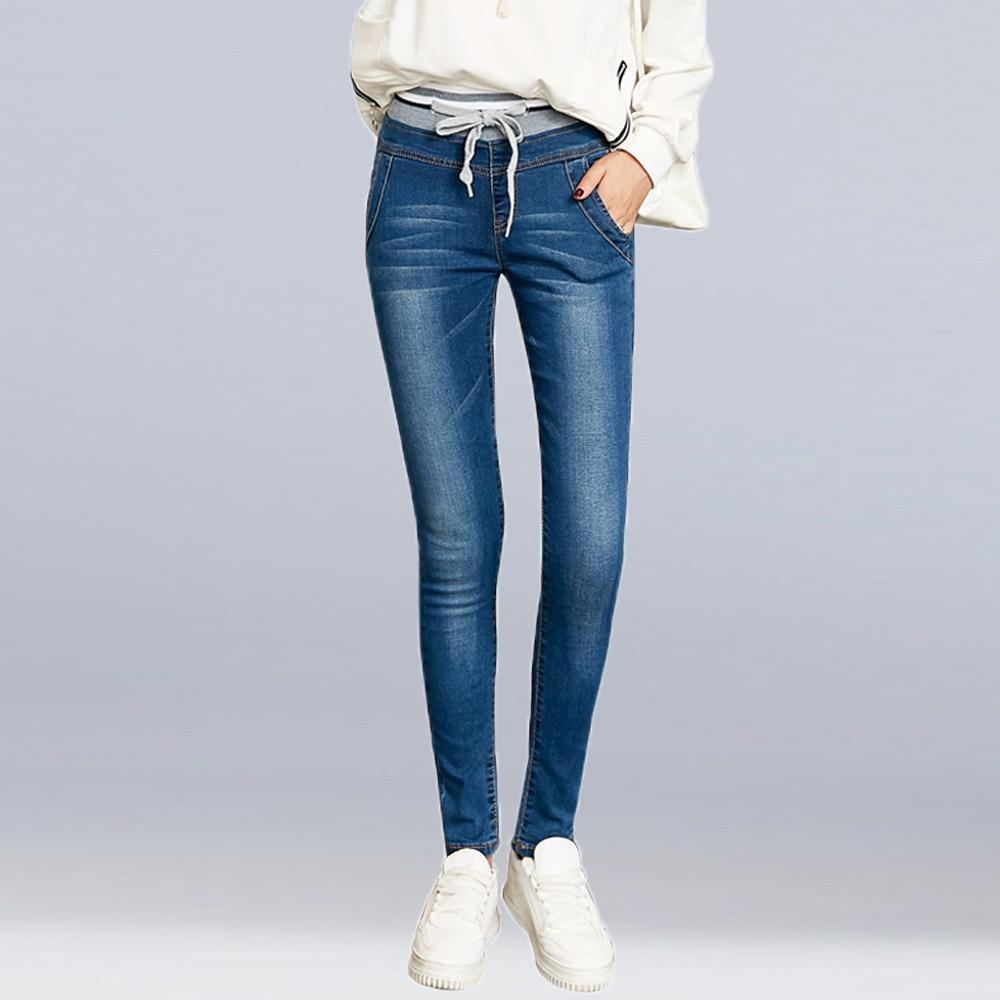 New Fashion High Waist Jeans For Women Elastic Waist Ties Blue Long Cotton Denim Trousers Plus Size Skinny Jeans Pencil Pants