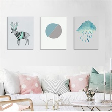 Laeacco Modern Nordic Deer Cloud Rain Wall Art Cartoon Animal Posters and Prints Canvas Painting For Living Room Home Decoration