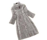 Плюс размеры 2017 натуральный кролика рекс мех животных пальто 11 цветов для женщин длинные дизайн Зимняя теплая верхняя одежда