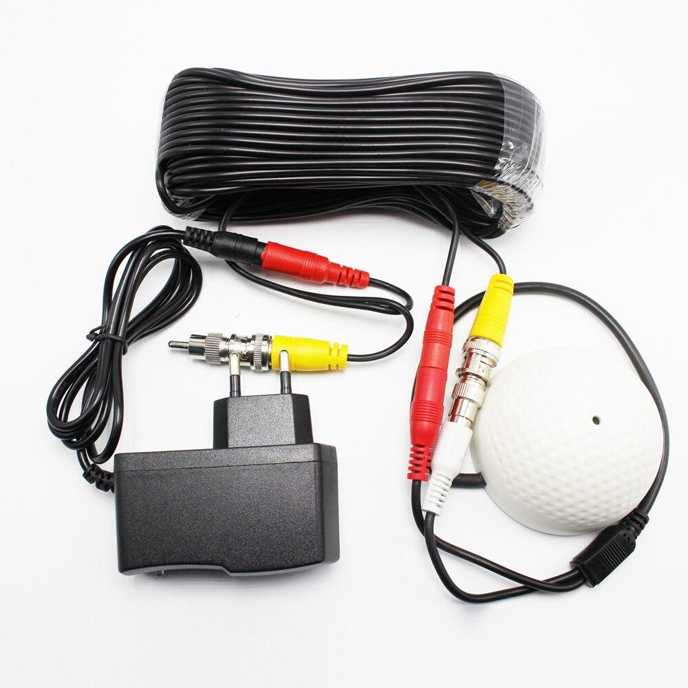 100 Mètres Carrés Mini CCTV Microphone De Surveillance de Sécurité CCTV Audio Ramassage Entrée DC 2in1 Power Video Câble Pour Système CCTV