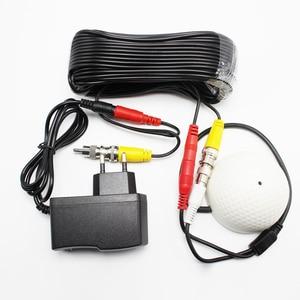 Image 1 - 100 평방 미터 미니 cctv 보안 감시 마이크 cctv 오디오 픽업 입력 dc 2in1 cctv 시스템 용 전원 비디오 케이블