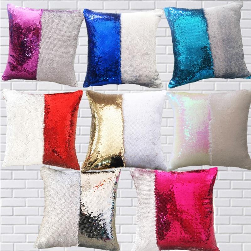 DIY Mermaid Sequin Cushion Cover Magical PillowCase Reversible Car Home Decor Cushions Sofa Decorative Capa Almofada Wholesale in Cushion Cover from Home Garden