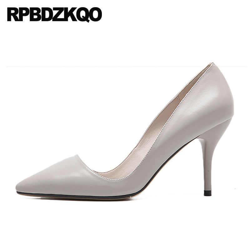 Пикантные белые туфли на высоком каблуке современные лодочки черные туфли