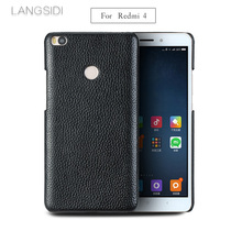 LANGSIDI mobile phone shell For  Redmi 4 mobile phone shell advanced custom in Litchi pattern Half pack Leather Case