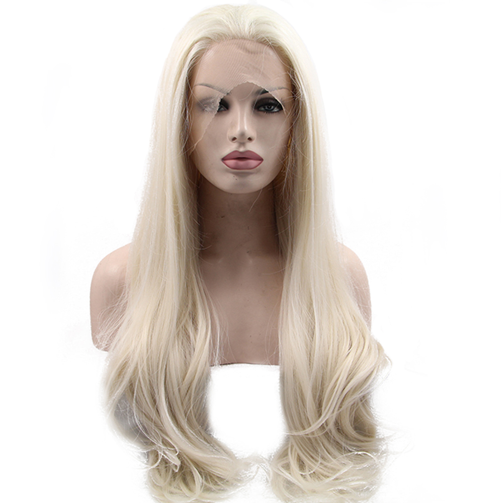 BESTUNG Platinum Blonde Long Natural Wavy Lace front Wigs Heat Resistant Synthetic Hair Wig for Women