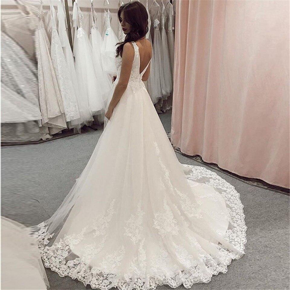 ad65dd52c03 LORIE 2019 élégante dentelle robes De mariée col en v sans manches blanc  ivoire a-