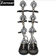 woman flats sandals Fashion rhinestone gladiator Roman knee-high Summer boots for women 2017 New fashion womens flat shoes