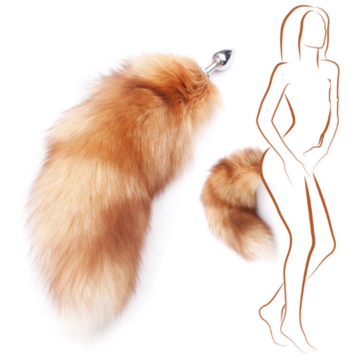 2019 nova grande real golden fox tail novetly unisex cosplay traje adereços casais vida flertando cauda anal plug pingente chaveiro
