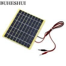 Buheshui 5 Вт 18 В поликристаллического Панели солнечные + 1 м кабель крокодил для 12 В автомобиля/лодки/ двигатель Батарея Портативный Солнечный Зарядное устройство