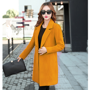 Winter Slim Large size Women Woolen Jacket 2020 New Casual Medium long Solid color Long sleeve Women Woolen Jacket S-4XL SES772 3