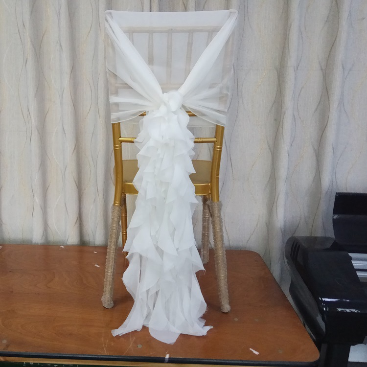 Free Shipping 100pcs Chiffon White Chair Hood for Wedding Theme Party Chair Sash Chair Bow More Colors Available