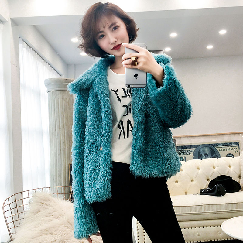 FIRSTTO Stylish Blue Curly Long Hairy Shaggy Faux Lamb Wool Fur Coat Winter Women Lapel Faux Fur Jackets Loose Short Outerwear