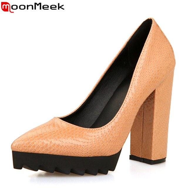 2017 Популярные высокое качество искусственная кожа женская мода насосы толстые каблуки острым носом твердые сексуальный стиль платформы дамы свадебные туфли