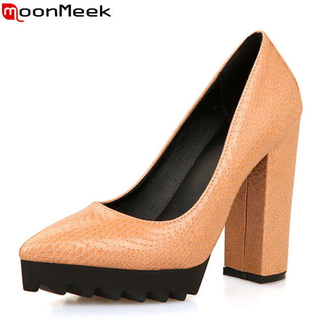 2017 Popular top quality pu leather fashion women pumps thick heels pointed toe solid sexy style platform ladies wedding shoes
