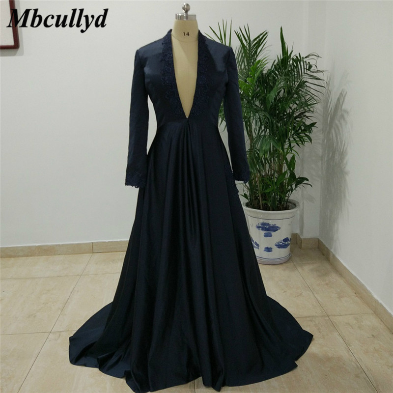 Mbcullyd Deep V-neck Mother Of The Bride Dresses 2019 Long Sleeves Dubai Arabic Prom Dress Navy Blue Applique Lace Pageant Gowns