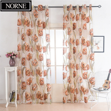 NORNE Semi Window Sheer Curtains Voiles Panel for Drapes Living Room Bedroom Kitchen Modern Floral Pattern Fabric Tulle Curtain norne 30