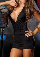 Sexy Lingerie Women Party Dress Solid Halter Deep V Low Cut Backless Sheath Nightclub Pole Dance