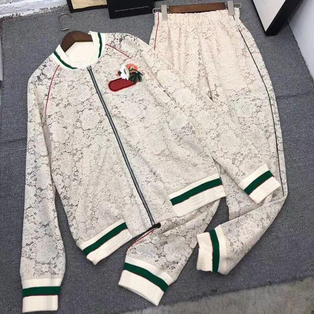 Dressnow women lace sets 2 piece sets women summer pants top 2018 long sleeve jacket and pants suits cotton sets