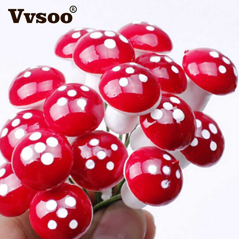 Vvsoo 12Pcs/set Christmas Decorations Mini Red Mushroom Shape Ornament Miniature Plant Pots Fairy Holiday Home Christmas Decor