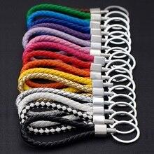 Voiture à la main en cuir corde tissé porte clés en métal porte clés haut de gamme hommes ou femmes Auto porte clés cadeaux accessoires