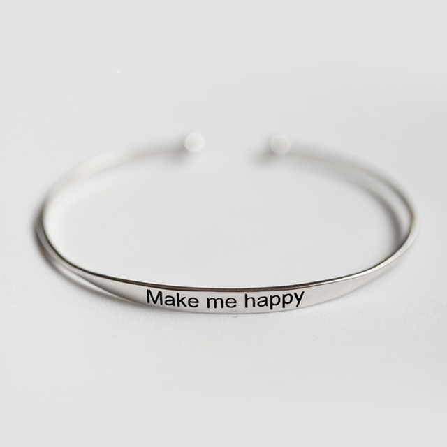 Simple Circular Open Size Make Me Happy 925 Sterling Silver Adjustable Bangle