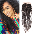 Alionly Kinky Curly Closure 4x4 Brazilian Closure Kinky Curly Virgin Hair Free Part Lace Closure Curly Weave Human Hair Closure