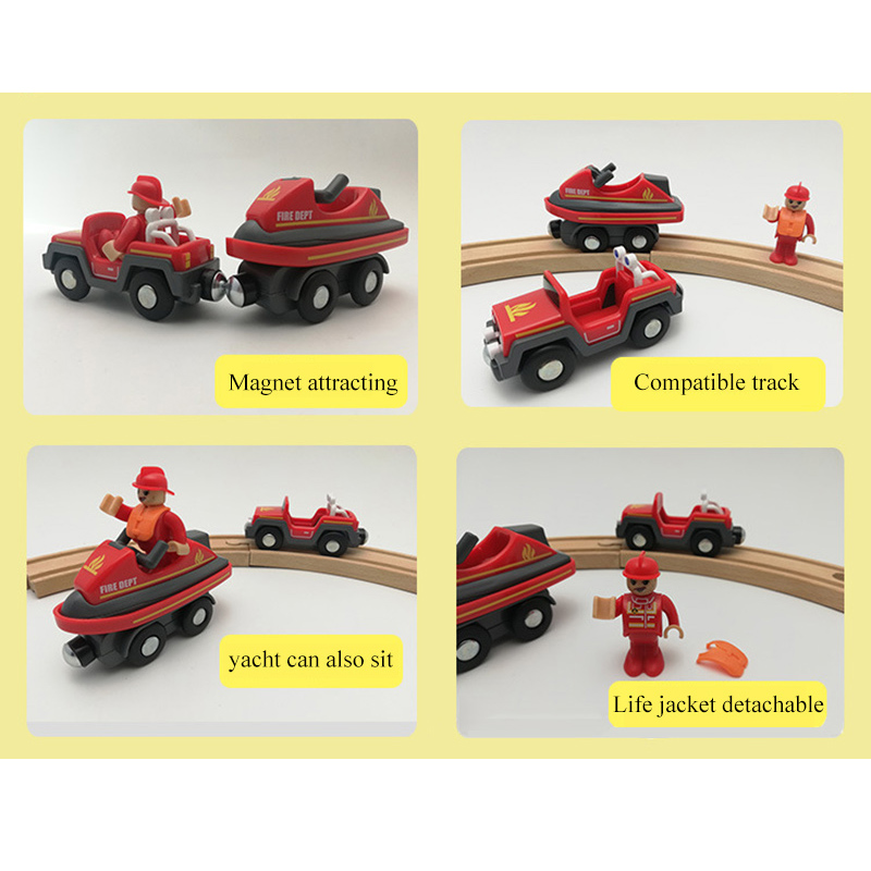 Wooden Railway Feuerwehr Sets Set with Magnetic Yacht Magnetic Slot Compatible with Brio Wooden Track Car Toy Kids Gift in Diecasts Toy Vehicles from Toys Hobbies