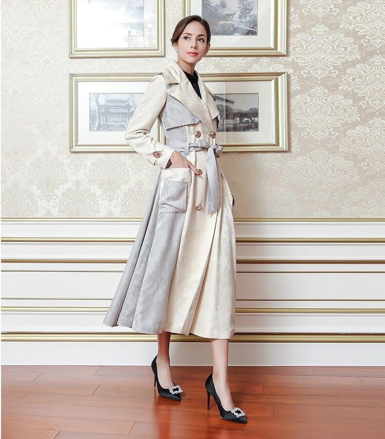 Luxe Taille Manteau D'automne Breasted Double Beige Voa Élégant Trench Grande Femmes Flx00801 De Supérieure Classique Soie Qualité Ceinture coat fFxP1wxq