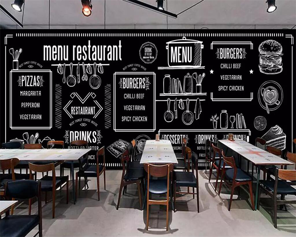Beibehang Custom Wallpaper Europe And America Hand-painted Blackboard Gourmet Bar Coffee Shop Background Wall Mural 3d Wallpaper