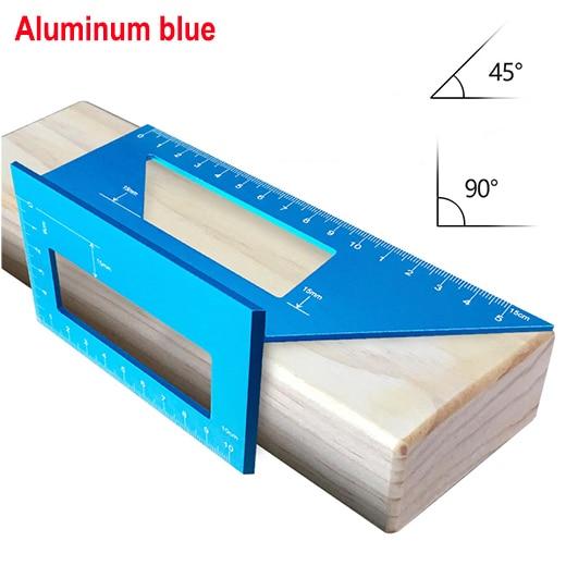 Алюминиевый сплав 45 градусов 90 градусов деревообрабатывающий Многофункциональный квадратный Измеритель угла транспортир над линейкой - Цвет: aluminum blue
