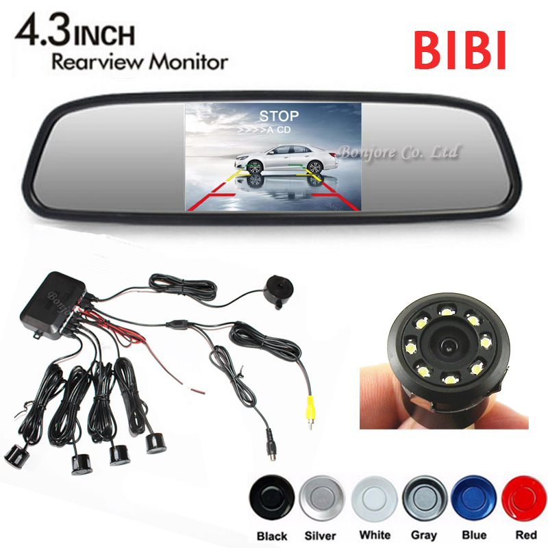 Vehicle Dual Core CPU 4 Parking Sensors Ir Infrared LED Rear view Camera Distance on 4.3 Car Mirror Monitor High Resolution 12V
